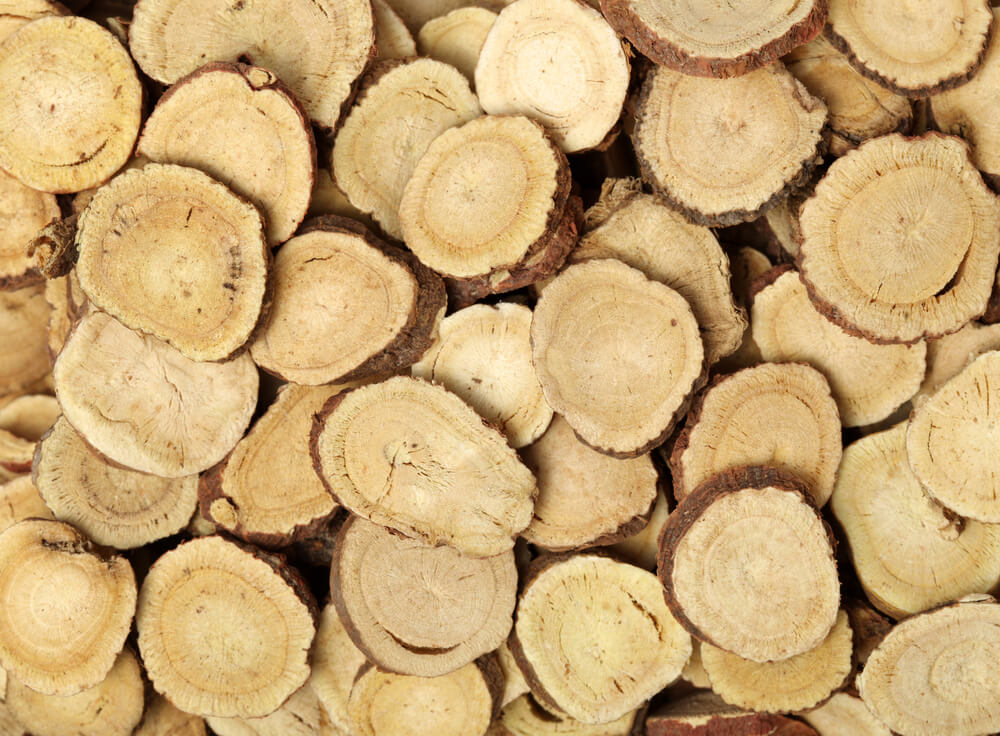 Licorice root sliced up for Bionyx skin care products